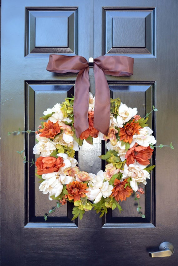 Silk Flower Wreath- Fall Flowers- Fall Wreaths- Silk Flower Wreath- Autumn Decor- Front Door Decor- Floral Wreath