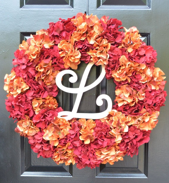 Fall Hydrangea Wreath, Hydrangea Fall Wreath,Thanksgiving Wreath, Fall Decor, Red Orange Pumpkin Spice Fall Wreath  Ready
