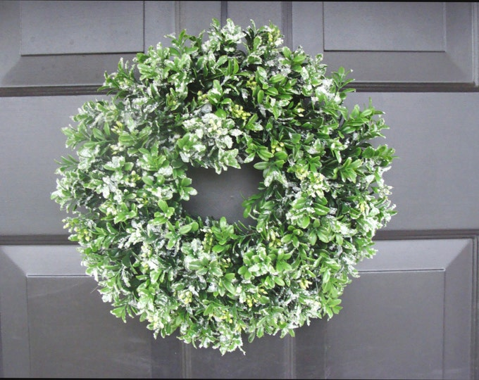 Let it Snow Artificial Boxwood Wreath- Christmas Wreath- 13 Inch Window Wreath- Christmas Window Decoration, Candle Ring, READY TO SHIP