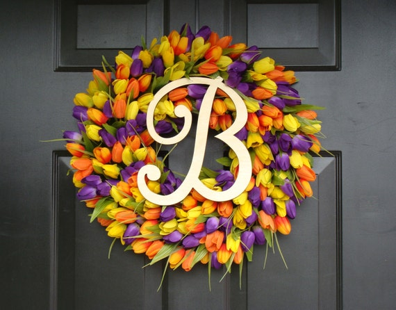 Initial Letter Tulip Wreath- Tulip Monogram Spring Wreath Custom Colors and Sizes- Monogram Wreath- ORIGINAL Tulip Wreath Monogram Letter