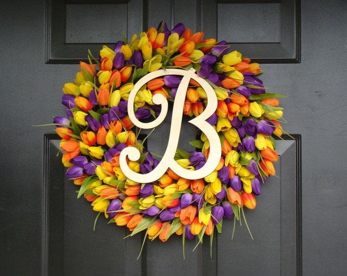 Initial Letter Tulip Wreath- Tulip Monogram Spring Wreath Custom Colors and Sizes- Monogram Wreath- ORIGINAL Tulip Wreath Monogram Letter