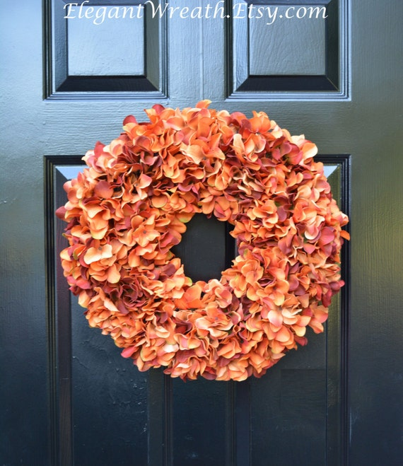 Orange Fall Wreaths Monogram Hydrangea Wreath Fall Monogram Wreath, Orange Hydrangea Wreath, Fall Decor Halloween Decor