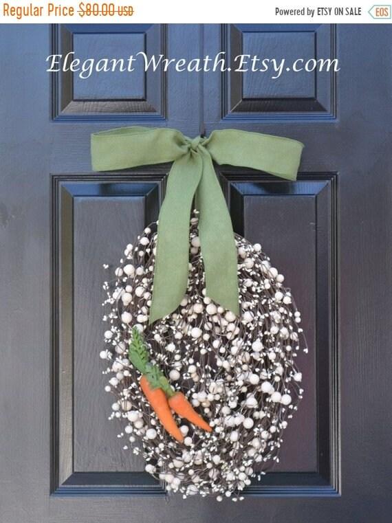 SUMMER WREATH SALE Easter Egg Wreath- Easter Wreath with Carrots- Easter Decoration- Easter Decor- Monogram Wreath- Spring Wreath