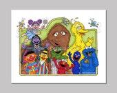 Items Similar To Sesame Street Cartoon Art Print Big Bird Elmo