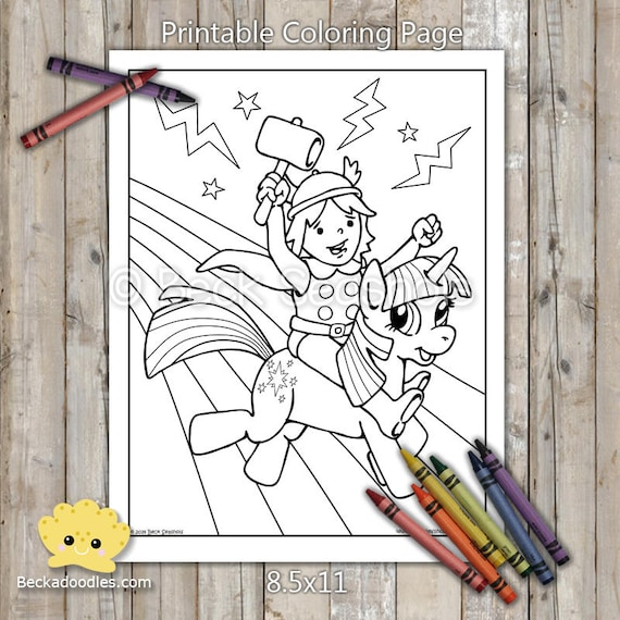Thor and Twilight Sparkle Printable Coloring Page