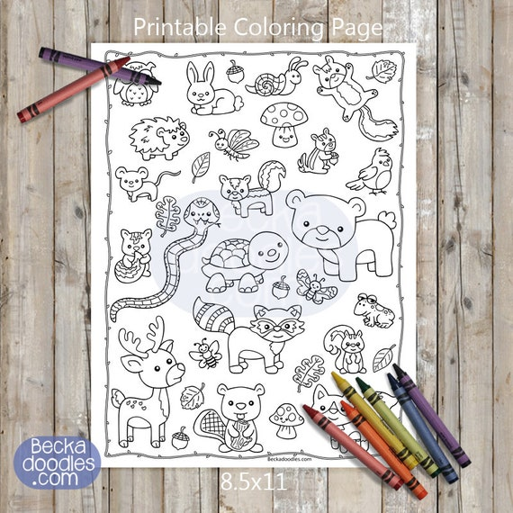 Woodland Critters Printable Coloring Page