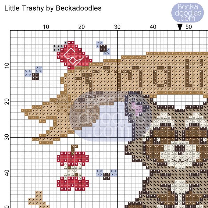 PDF Instant Download Little Trashy Cross Stitch Pattern Sewing Pattern