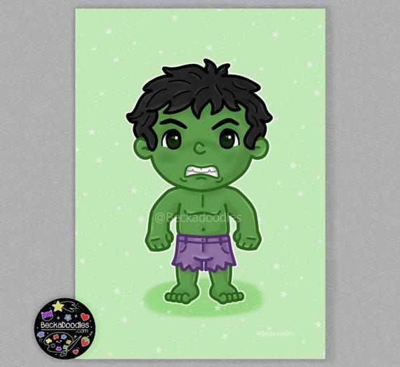 Dessin Anime Mignon De Hulk 5 X 7 Art Print Etsy