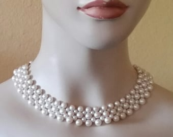Vintage, Wedding, Faux Pearls, Adjustable, Choker Necklace
