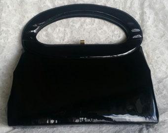 Beautiful Black Patent Mod Vintage Handbag