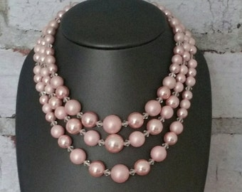 Vintage, Multi Strand Pearl, Pretty in Pinks, soft pinks vintage faux pearls, 3 strands necklace
