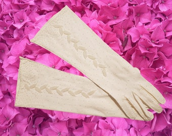 Vintage, Soft White, Seed Pearl Beads, Hand Embroidered, Wedding, Formal Gloves