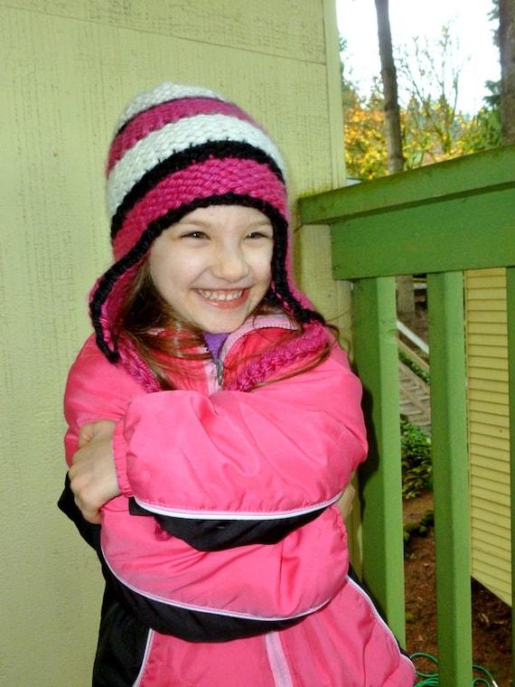 Loom Knit Striped Ear Flap Hat Pattern Etsy