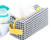 Oilcloth Make Up Bag Cosmetic Case Gingham Large