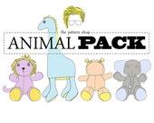 Stuffed Animal Sewing Pattern Set   Giraffe   Elephant   Lion   Hippo
