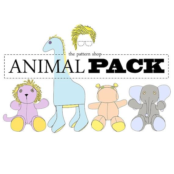 Stuffed Animal Sewing Pattern Set Giraffe Elephant Lion | Etsy