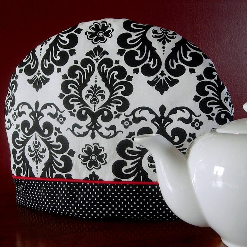 Teapot cozy  Damask  Black and White  Teapot cosy  Black image 0