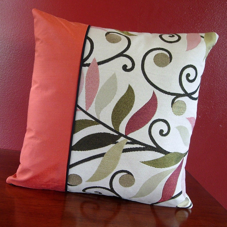 Coral Colored Pillow  12x12 Pillow  Square Pillow  Black image 0