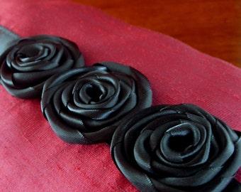 Silk Decorative throw pillow Red and black Rosette pillow Ribbon roses Rectangular Lumbar - Ready to ship