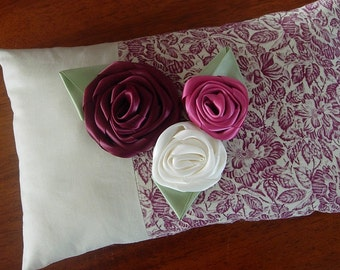Shabby chic pillow | Burgundy | Pink Fabric rose pillow | Ribbon Rose Bouquet | Decorative throw | Accent pillow - Ready to ship