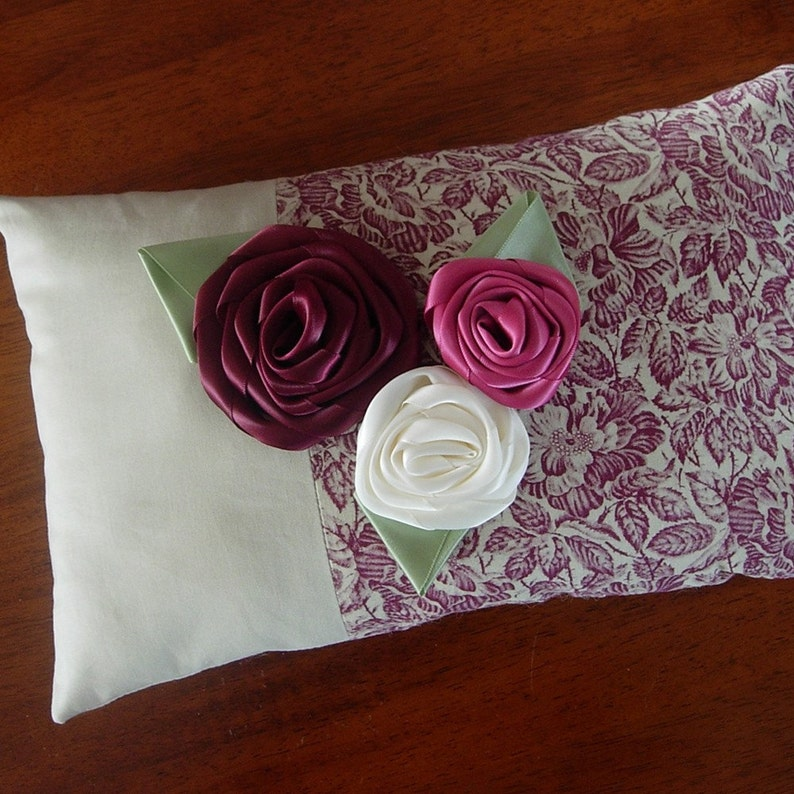 Shabby chic pillow  Burgundy  Pink Fabric rose pillow  image 0