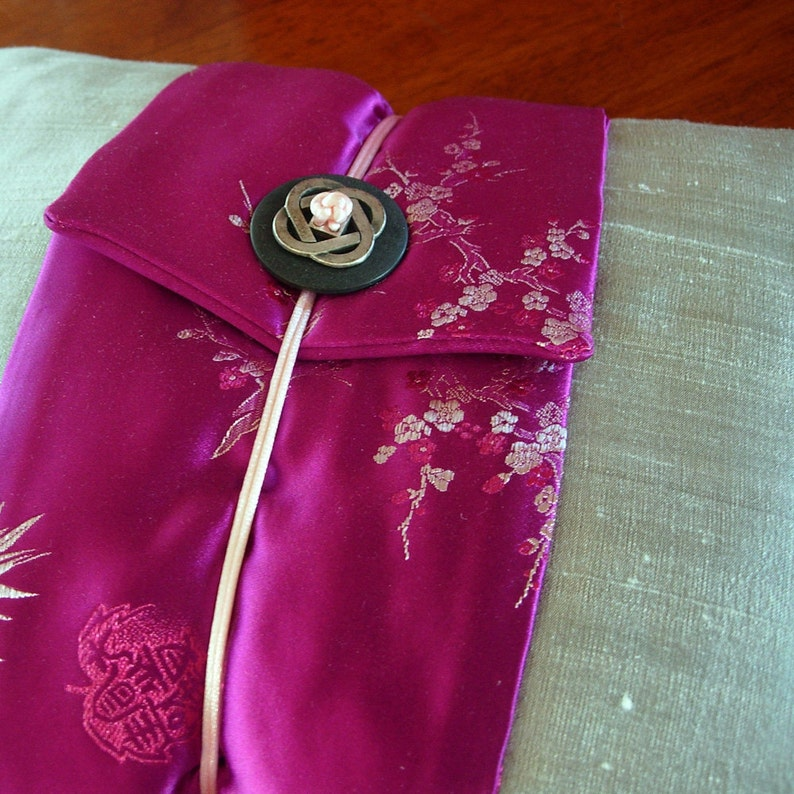 Japanese Decorative throw pillow Silver Silk Grey Pink Fuschia image 0