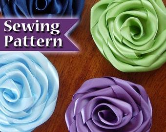 How to Make a Ribbon Flower | Ribbon flower Instructions | Ribbon Rose | Make a Flower from Ribbon | PDF Tutorial | Making Ribbon Flowers