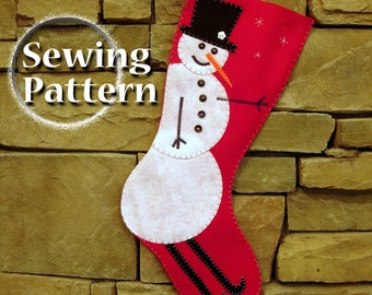 Extra Large Snowman Christmas Stocking Pattern | PDF sewing pattern | Do it yourself Tutorial | Almost 2 feet long | Instant download
