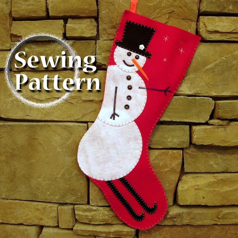 Extra Large Snowman Christmas Stocking Pattern  PDF sewing image 0