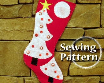 Extra Large Christmas Stocking Sewing Pattern | Christmas tree design | PDF Sewing Pattern | XL Extra large stocking | Almost 2 feet long