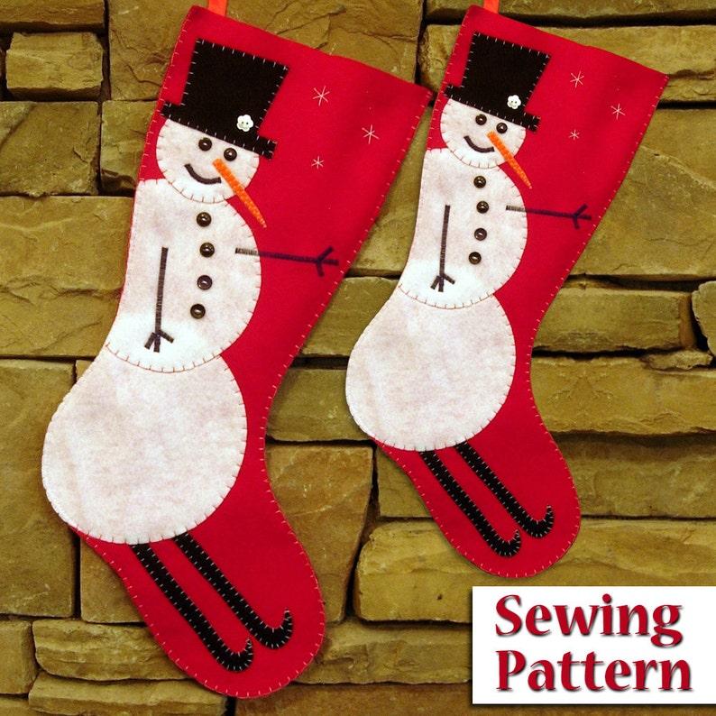 Skiing Snowman Christmas Stocking Pattern  PDF sewing pattern image 0