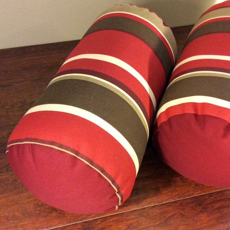 Indoor Outdoor Bolster Pillows  Red and Brown  Outdoor Patio image 0