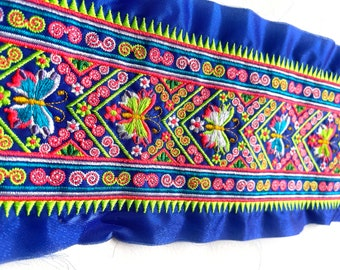 Hmong Textile, Lisu, butterfly, cross stitch, Thai hill tribe, Hmong, flowery, neon, bright, colorful, blue, embroidered, textile, flower