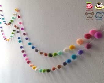 Pom Pom Garland, yarn pom pom garland, pastel, party, wedding, yarn ball, colorful, rainbow, mobile, carnival, decoration, 18 feet, 6 yards