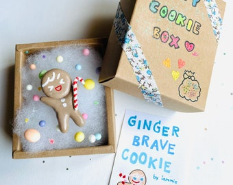 Happy Cookie Box: GINGERBRAVE Cookie Run Kingdom Cookies Clay Figurine Fanart Fan Art LIMITED EDITION Cute Brown Ginger Brave Candy Cute