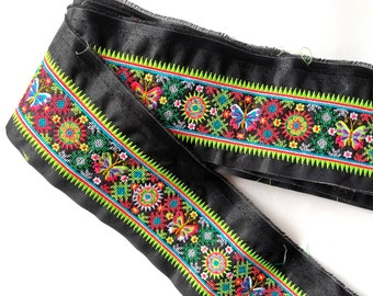 Hmong Textile, Lisu Textile, cross stitch, Thai hill tribe, Hmong, flowery, neon, bright, colorful, black, embroidered, textile, flower