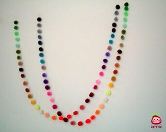 Pom Pom Garland, wholesale, yarn pom pom garland, party, wedding, colorful, rainbow, mobile, carnival, 3 yards, 9 feet, 10 strands