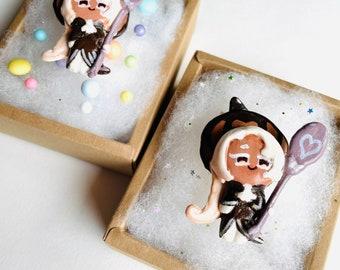 Random Happy Cookie Box: Latte Cookie Run Kingdom Cookies Clay Figurine 2.5D Fanart Fan Art Latte Coffee Random Box With Card