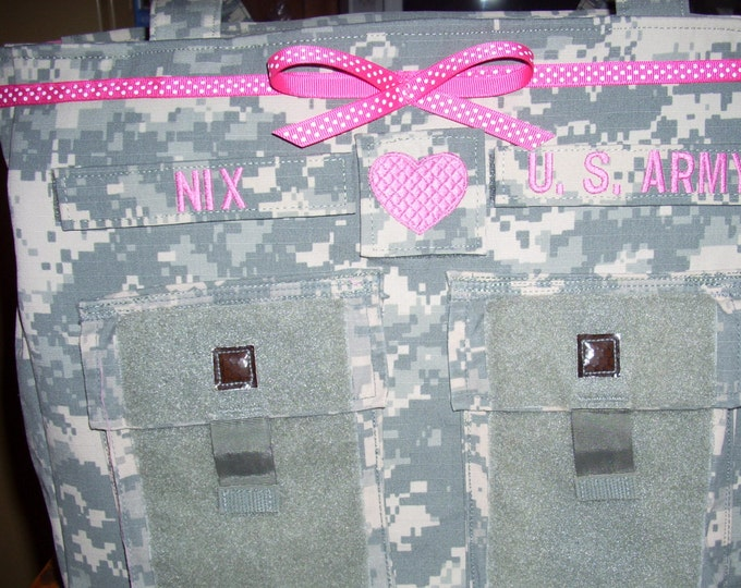 Army Baby Diaper Bag custom personalized shower gift choice of colors personalized name tags your choice trims made to order military bag