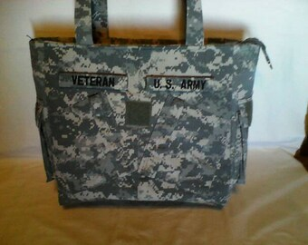 Army Mom Army wife Gift for him Veteran gift for veteran bag handmade uniform bag  shirt bag custom embroidery personalized army veteran bag