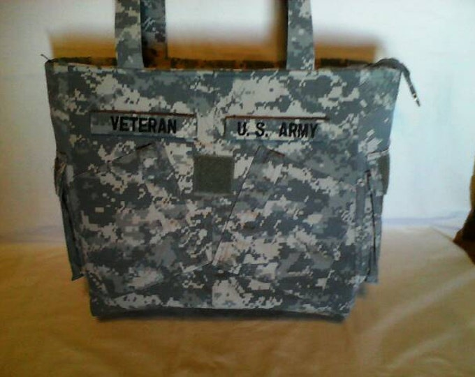 Army Mom Army wife Gift for him Veteran gift for veteran bag handmade uniform bag  shirt bag custom embroidery personalized army veteran bag
