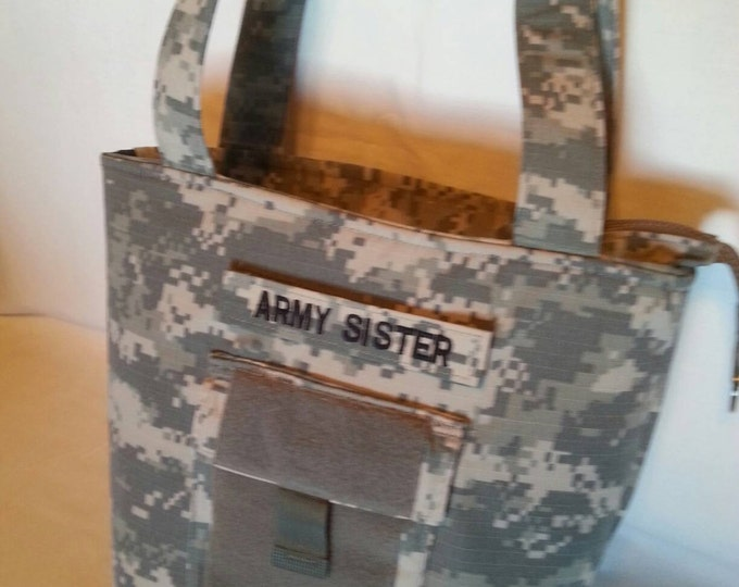 Army Uniform shirt custom personalized purse your choice colors for lining &  embroidery Army Wife Army Mom Army Aunt Army Grandma or other