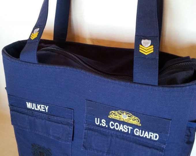 Coast Guard diaper bag handmade from your uniform custom made one of a kind