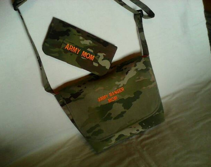 Crossbody OCP scorpion multicam messenger bag and matching wallet custom embroidery your choice words colors free shipping army purse wallet