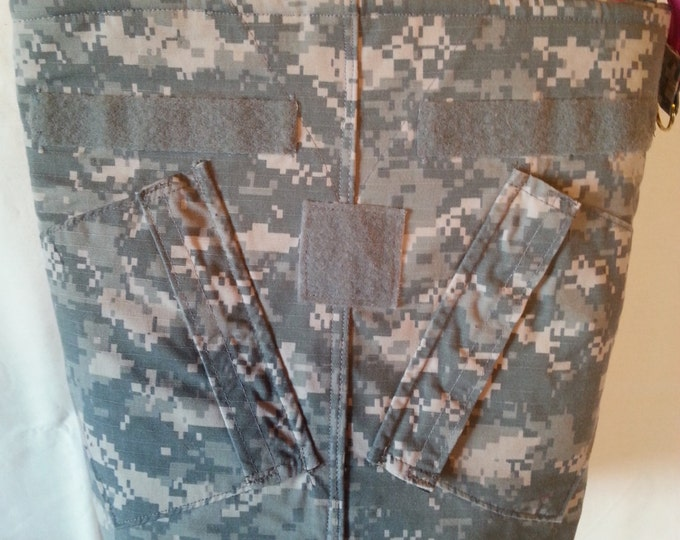 Camo gift for her ACU shirt purse from your shirt or mine ACU shirt purse Army Mom Army wife custom embroidery