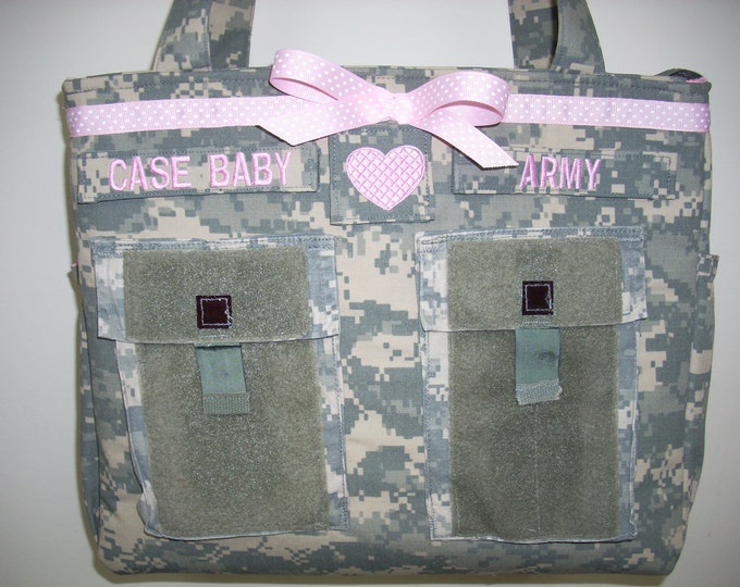 Army diaper bag camo daddy diaper bag Gift for her unique gift handmade custom embroidery  personalized customized