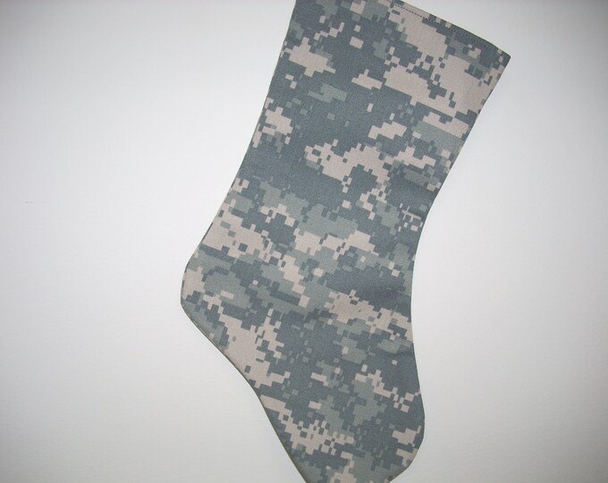 "Army Christmas Stocking with embroidered name tag 19""  gift for Christmas send to your soldier gift for child gift for her gift for him"