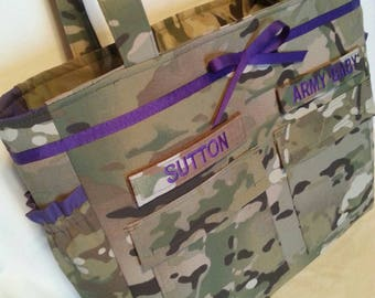 Multicam Diaper Bag Army daddy diaper bag gift for him 90.00 or less gift for her custom embroidery your choice colors and embroidery words