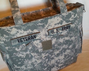 Army veteran gift for veteran handmade Army uniform bag custom embroidery personalized army veteran bag veteran travel tote bag