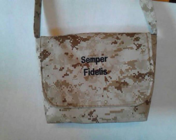Marine Mom messenger bag custom embroidery Camo purse Marine Wife purse Army Navy Air Force Mom Army Aunt  Gramma your choice words